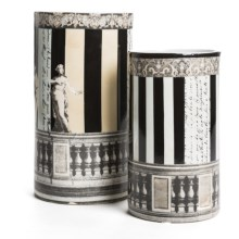 Tozai Via Santo Spirito Vases - Porcelain, Set of 2 in Black/Natural Grecian Stripe - Closeouts