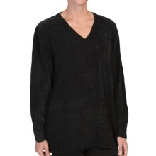 Tracy Lynn Chenille Sweater - V-Neck (For Women) in Black - Closeouts