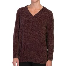 Tracy Lynn Chenille Sweater - V-Neck (For Women) in Brown - Closeouts