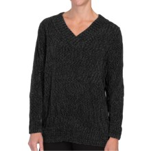 Tracy Lynn Chenille Sweater - V-Neck (For Women) in Dark Purple - Closeouts