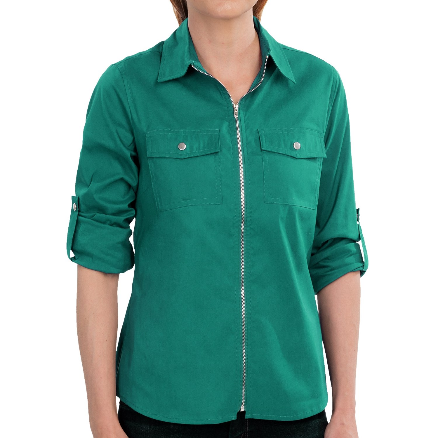 Tracy M Zip Front Shirt Roll Up Long Sleeve For Women