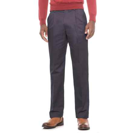 Traditional Fit Cotton Pleated Pants (For Men) in Dark Navy - Closeouts