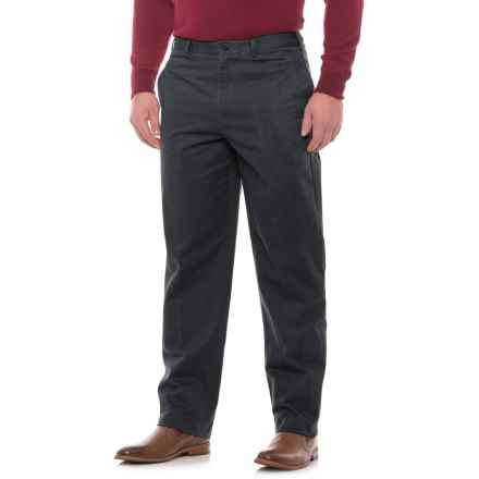 Traditional Fit Flat-Front Pants (For Men) in Black - Closeouts
