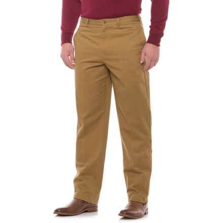 Traditional Fit Flat-Front Pants (For Men) in Dark Tan - Closeouts
