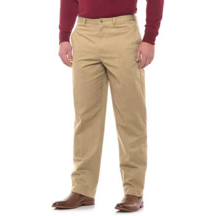 Traditional Fit Flat-Front Pants (For Men) in Khaki - Closeouts
