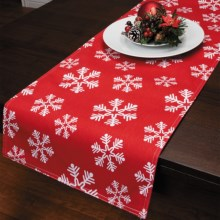 "Traditions by Waverly Reversible Table Runner - 72"" in Snowflake - Closeouts"