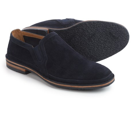 Trask Blaine Perforated Shoes - Suede, Slip-Ons (For Men) in Navy Suede