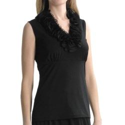 Travel by Tribal Sportswear Jersey-Chiffon Shirt - Sleeveless (For Women) in Black