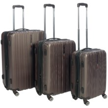 Traveler's Choice Tasmania Hard Case Spinner Luggage Set - 3-Piece, Expandable in Dark Brown - Closeouts