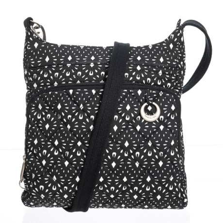 Travelon Anti-Theft Boho North/South Crossbody Bag (For Women) in Black/White
