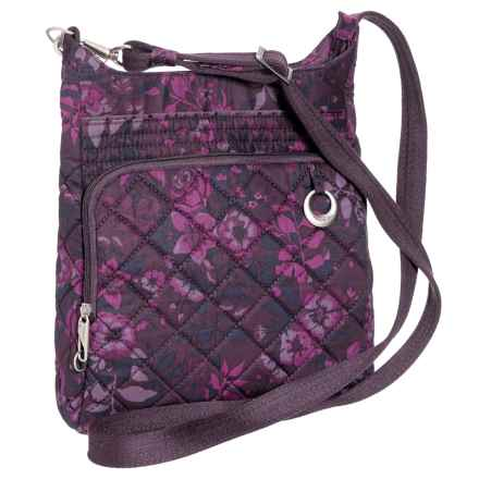 Travelon Anti-Theft Boho North/South Crossbody Bag (For Women) in Wine Rose - Closeouts