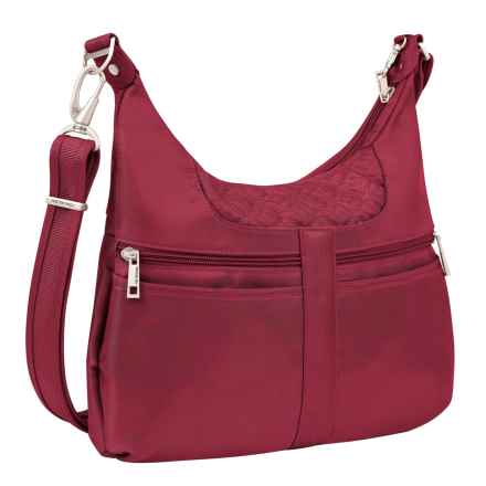 Travelon Anti-Theft Signature Multi-Pocket Hobo Bag (For Women) in Cranberry - Closeouts