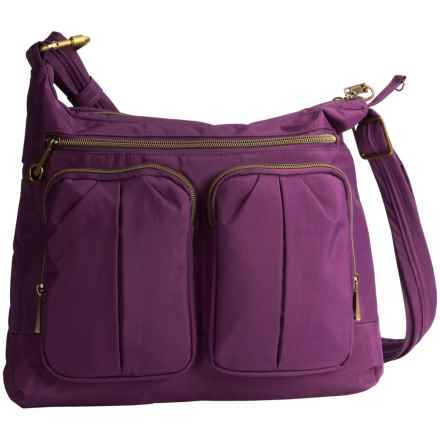 Travelon Anti-Theft Signature Twin Pocket Hobo  Bag (For Women) in Purple - Closeouts