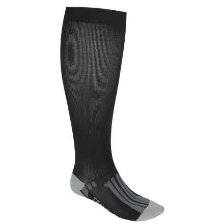 Travelon Compression Travel Socks - Over-the-Calf (For Men and Women) in Black/Gray - Closeouts