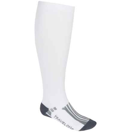 Travelon Compression Travel Socks - Over-the-Calf (For Men and Women) in White/Grey - Closeouts