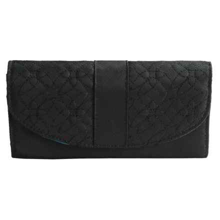 Travelon Signature Embroidered RFID Envelope Wallet (For Women) in Black - Closeouts