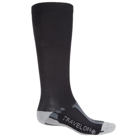 Travelon Travel and Sport Compression Socks - Large (For Men and Women) in Black/Gray