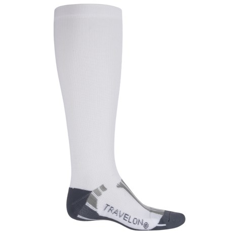 Travelon Travel and Sport Compression Socks - Large (For Men and Women) in White/Gray