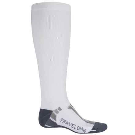 Travelon Travel and Sport Compression Socks - Medium (For Men and Women) in White/Gray - Closeouts
