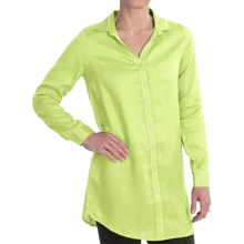 TravelSmith Linen Tunic Shirt - Long Sleeve (For Women) in Soft Green - Closeouts
