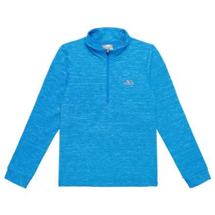 Trespass Abra Shirt - Zip Neck, Long Sleeve (For Little and Big Kids) in Cobalt - Closeouts