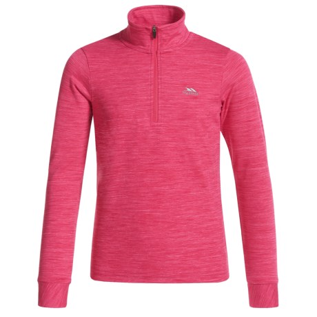 Trespass Abra Shirt - Zip Neck, Long Sleeve (For Little and Big Kids) in Raspberry