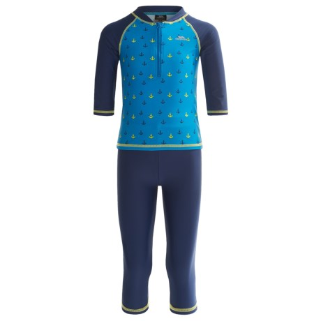 Trespass Ashore Swim Set with Rash Guard and Pants - 2-Piece, UPF 40+, Long Sleeve (For Little and Big Boys) in Anchor Print