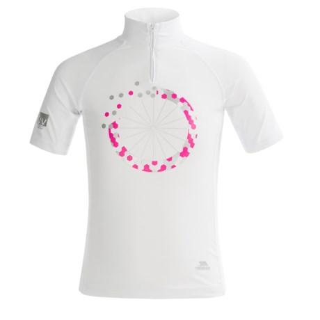 Trespass Halley Rash Guard - UPF 40+, Zip Neck, Short Sleeve (For Big Girls) in White