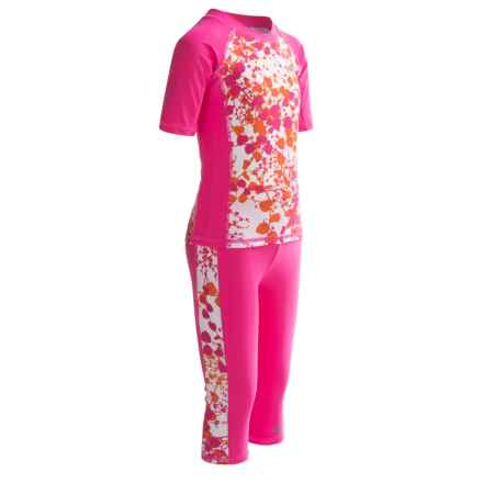 Trespass Lettice Two-Piece Rash Guard and Pants Swim Set - UPF 40+, Short Sleeve (For Little and Big Girls) in Fuchsia - Closeouts