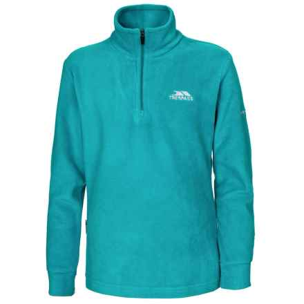 Trespass Louviers Fleece Jacket - Zip Neck (For Little and Big Girls) in Turquoise - Closeouts