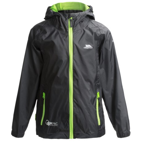 Trespass Qikpac Jacket - Waterproof (For Kids and Youth) in Black