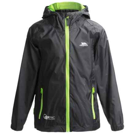 Trespass Qikpac Jacket - Waterproof (For Little and Big Kids) in Black - Closeouts