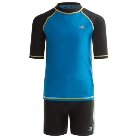 Trespass Tides Two-Piece Rash Guard and Shorts Swim Set - UPF 40+, Short Sleeve (For Big Boys) in Cobalt