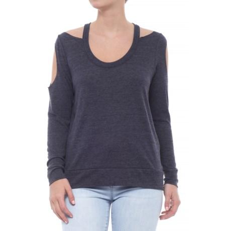 Tri-Blend Double Cold Shoulder T-Shirt - Long Sleeve (For Women)