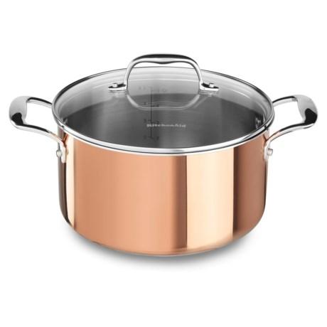 Tri-Ply Copper Low Casserole Pan with Lid - 6 qt.