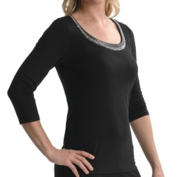 Tribal Sportswear Beaded Scoop Neck Shirt - 3/4 Sleeve (For Women) in Black