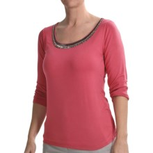 Tribal Sportswear Beaded Scoop Neck Shirt - 3/4 Sleeve (For Women) in Hibiscus