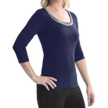 Tribal Sportswear Beaded Scoop Neck Shirt - 3/4 Sleeve (For Women) in Ink Blue