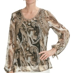 Tribal Sportswear Chiffon Blouse - Long Sleeve (For Women) in Khaki