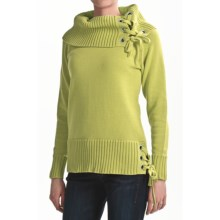 Tribal Sportswear Chunky Cotton Turtleneck - Grommet Trim, Long Sleeve (For Women) in Limeade