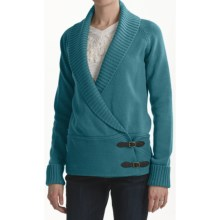 Tribal Sportswear Cotton Cardigan Sweater - Side Buckles (For Women) in Teal
