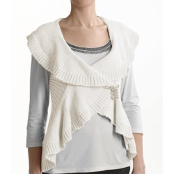 Tribal Sportswear Cotton Wrap Vest (For Women) in Cream
