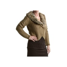 Tribal Sportswear Jacquard Cardigan Sweater (For Women) in Antique Bronze