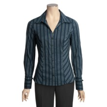 Tribal Sportswear Jacquard Stripe Shirt - Long Sleeve (For Women) in Mallard Blue