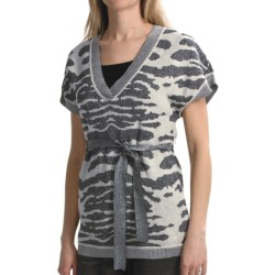 Tribal Sportswear Knit Animal-Pattern Tunic Shirt - Metallic, Short Sleeve (For Women) in Light Grey Mix