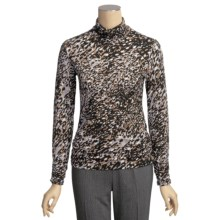 Tribal Sportswear Mock Neck Shirt - Shirred Collar and Sleeves (For Women) in Camel