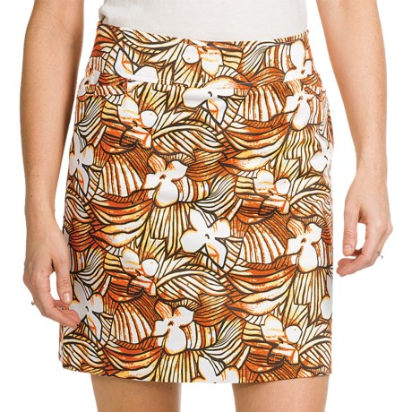 Tribal Sportswear Printed Sateen Skort - Stretch Cotton (For Women) in Tiger Lily