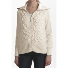 Tribal Sportswear Pucker-Stitch Cardigan Sweater (For Women) in Cream