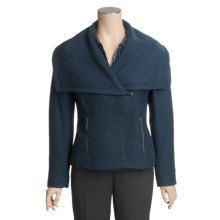 Tribal Sportswear Shawl Collar Jacket - Zip Front (For Women) in Mallard Blue