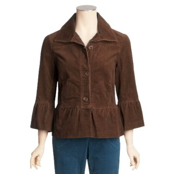 Tribal Sportswear Stretch Corduroy Jacket - Ruffle Detail (For Women) in Saddle Brown